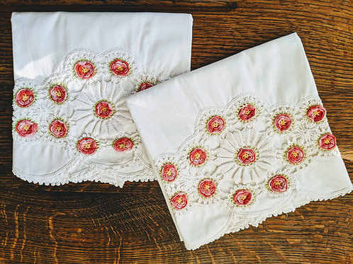 Pillowcase Pair Crochet Trim Red Floral Embroidery