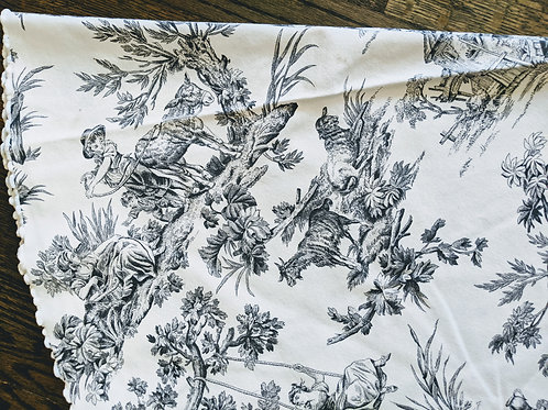 "Toile Country 56"" Round Tablecloth Cotton Cream Black"