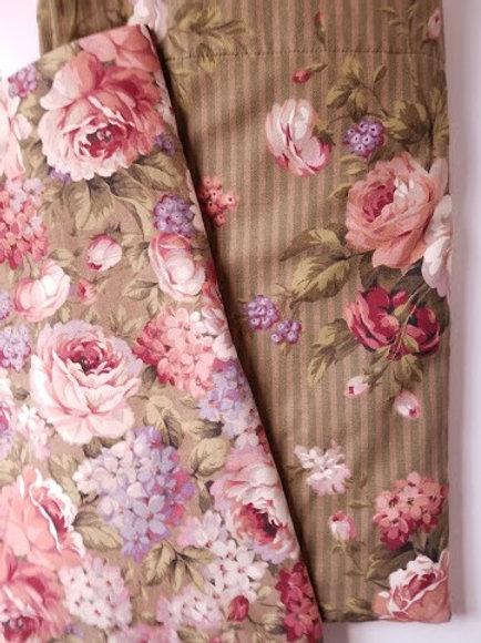 Cottage Green Sham Pair Standard Custom Floral Striped