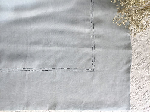 Williams Sonoma Linen Tablecloth Solid Blue Wide Hem
