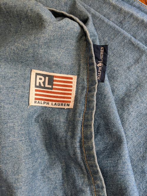 "Ralph Lauren Winward Denim Flag Euro Sham 30"" Square"