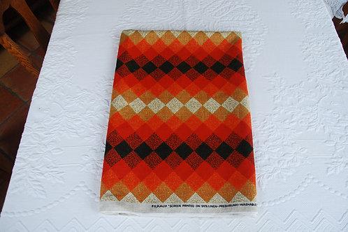 Filkauf Linen Fabric Orange Black Diamonds 72 x 50