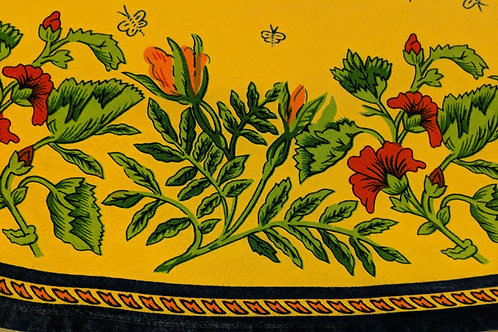 """Williams Sonoma 70"""" Round Tablecloth Provence Yellow/Red/Gold"""