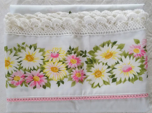 Vintage Morgan Jones Pillowcase Pair~Floral~New~Trim