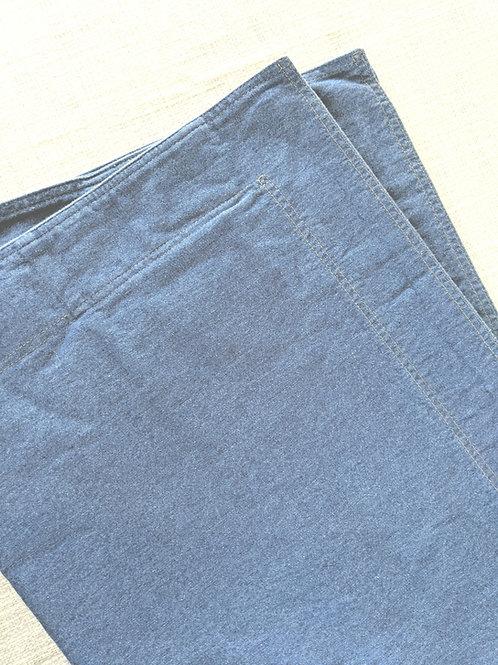 Eddie Bauer Denim  Std. Shams Medium Blue Gold Stitching