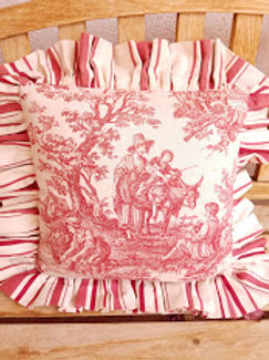 Waverly Rustic Life Red Toile Pillow Ruffled