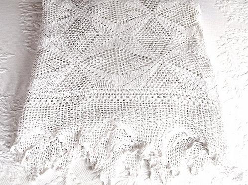 Vintage White Hand-Crocheted Spread
