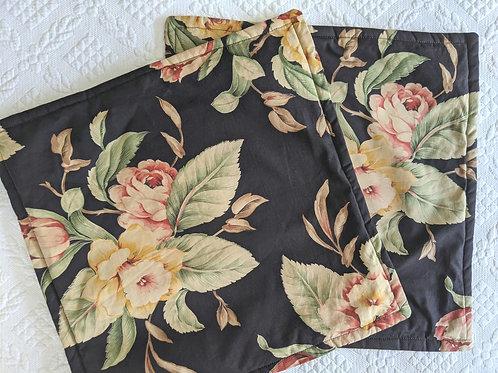 "Ralph Lauren Charleston Black Floral Throw Pillow Cover Pair 15"""