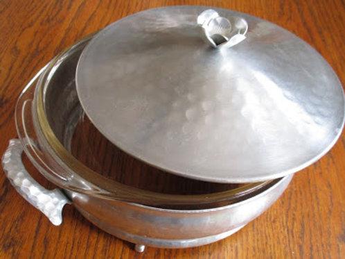 Hammered Aluminum Vintage Casserole Serving Dish Pyrex Bowl