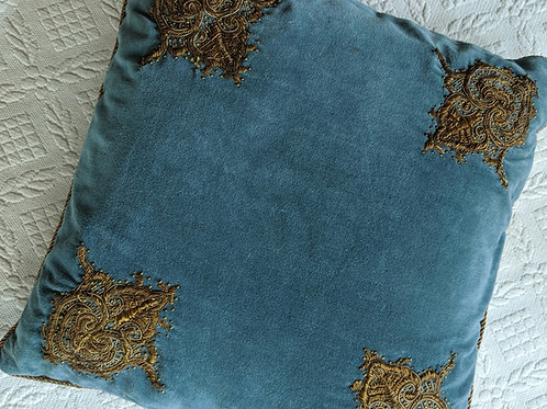 Ralph Lauren Village Terrace Mews Embroidered Blue Velvet Pillow