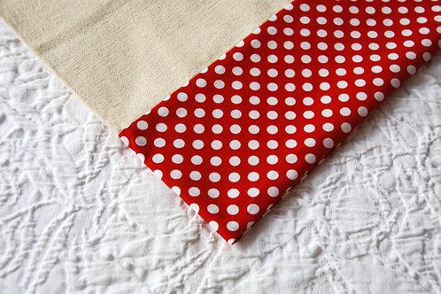 Oversize Pillowcase Red Polka Dot Trim Cotton
