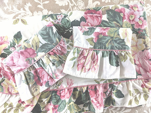 Floral Queen Vintage Flat Sheet Case Pair Cream Pinks Green