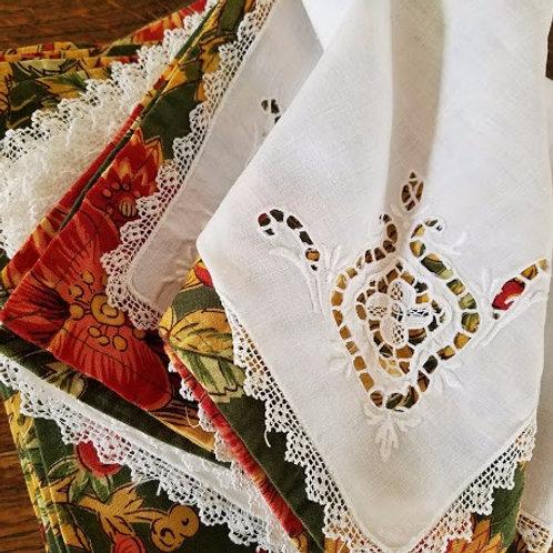 Vintage Linen Table Napkins White Cutwork Needlework Lace Set of 10