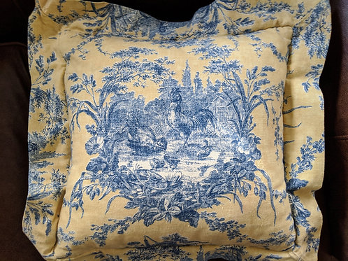 La Petite Ferme Toile Pillow Yellow Blue Roosters Flange