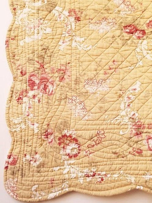 Floral Pillow Sham Standard Floral Stripe Tan Red White