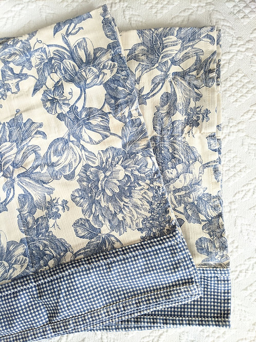 """Waverly Valance Pair French Floral Toile Blue 51"""""""