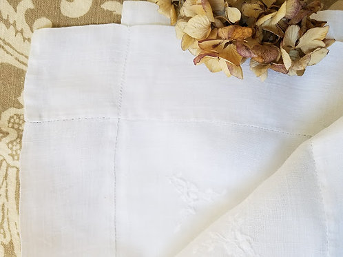 Rice Linen Whitework Square Tablecloth Embroidered Drawnwork Linen