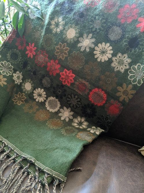 Unique Throw Scarf Floral Green Red Tan Fringe