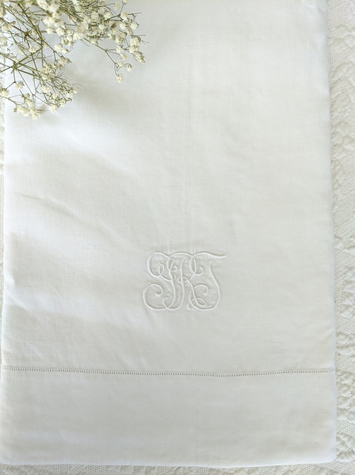 "Linen Flax Twin Flat Sheet Monogram ""GRT"""