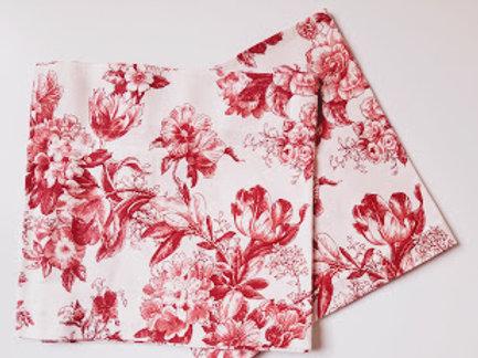 "Cream Red Floral Valance Pair~Custom~ 48"" x 12"""