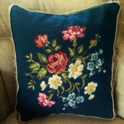Needlepoint Pillow Hand stitched Floral on Blue Fringed