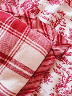 Joylyn Toile Plaid Red Cream Full Comforter Rustic LIfe Country Living