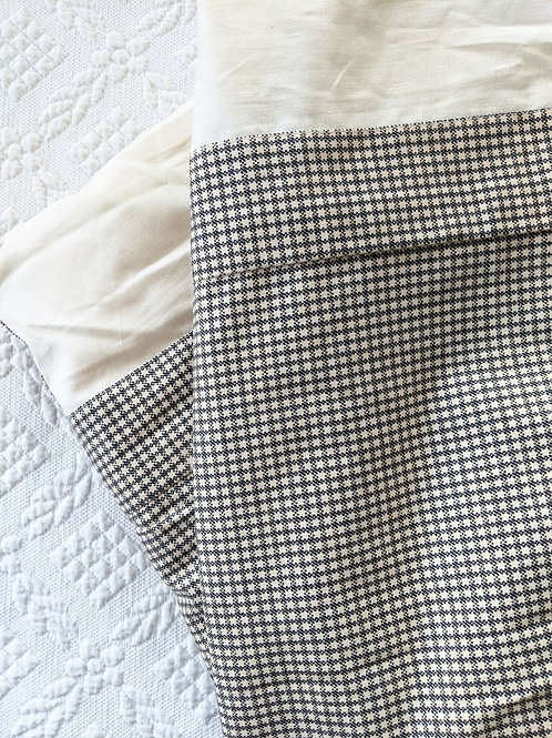 "Custom Twin Bed Skirt Pair Black Cream Petite Check 15"" Deep"