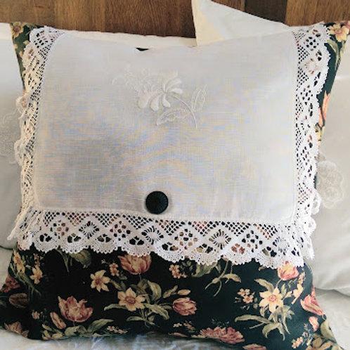 Pillow Cover~Black floral print~Vintage Linen Lace