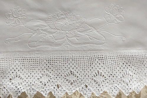 Vintage Handstitched Embroidered Pillowcase~White~