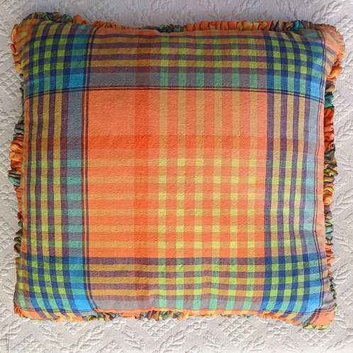 "Custom Plaid Ruffled Pillow Tangerine Blues Green Cotton 20"""
