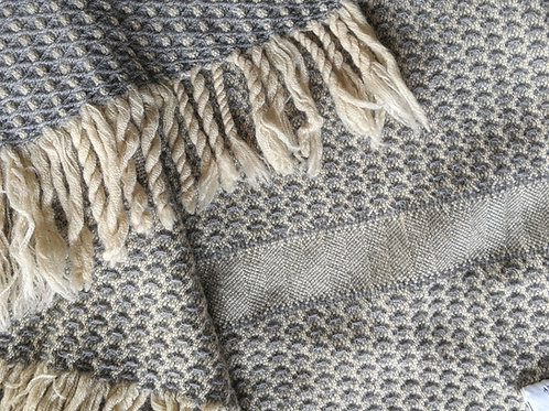 """Marzotto Vintage Wool Throw Italy Gray Cream Fringed 54"""" x 42"""""""