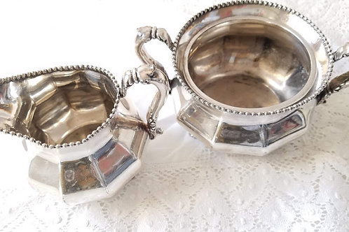 Reed and Barton~Silverplate~Antique Creamer and Sugar No 60