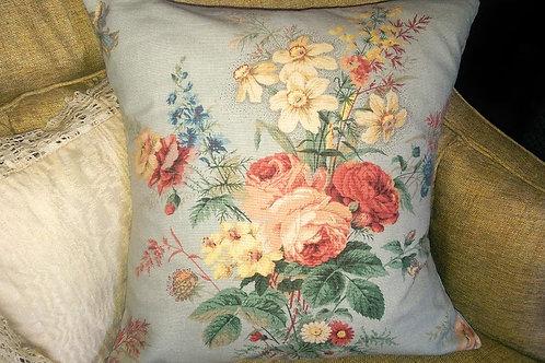 Handmade Unique Pillow Green Floral Down Insert