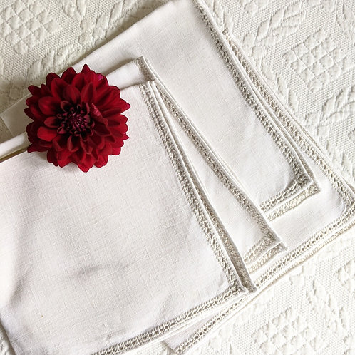Linen Luncheon Napkins Ladderwork White Set of 4