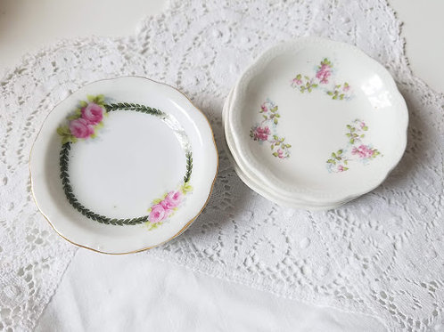 Antique Butter Pats Set of 6 Pinks Greens Floral