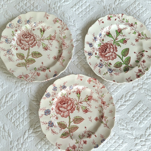 Johnson Bros. Rose Chintz Small Plates (3) Vintage Green Mark