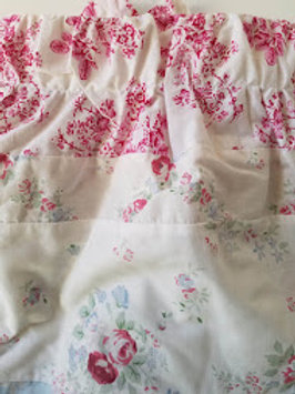 Shabby Chic Valance Pair Floral White Pink Blue