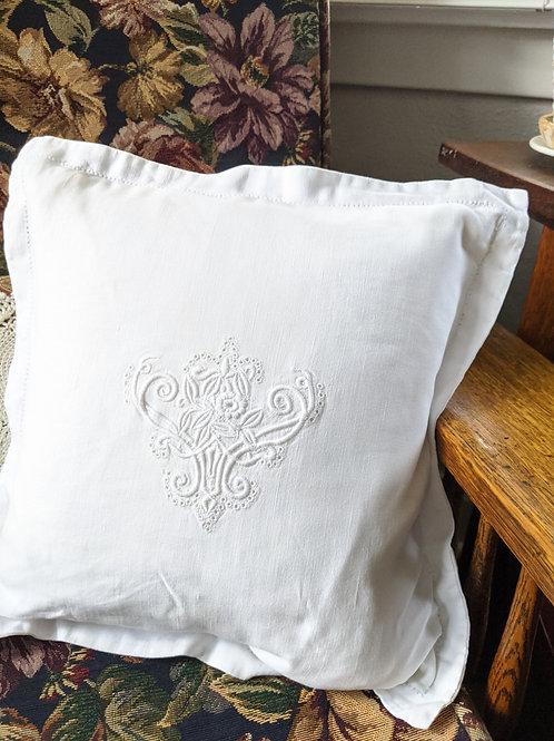 """Ralph Lauren Linen White Embroidered Pillow Down Insert 13"""""""