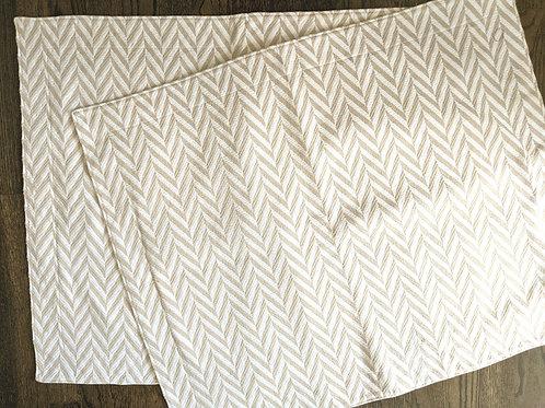 Garnet Hill Tan White Geometric Standard Sham Pair