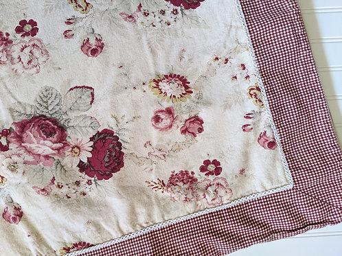 Waverly Vintage RoseTablecloth Floral Gingham Check 93x58