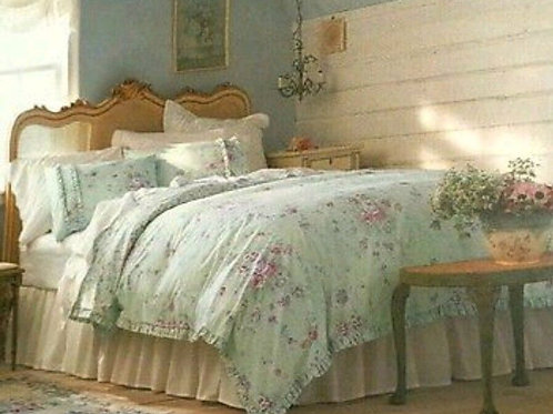 Simply Shabby Chic King Bramble Rose Green Floral Ruffled Duvet Cover