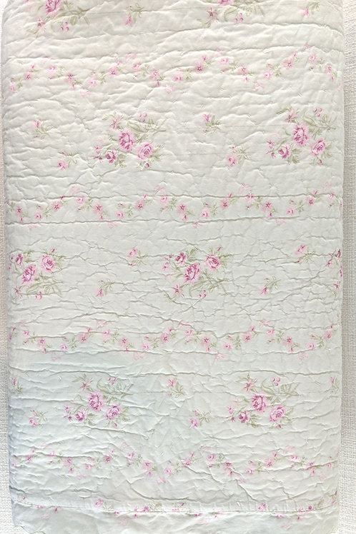 Simply Shabby Chic King Blush Beauty Green Floral Scalloped Quilt