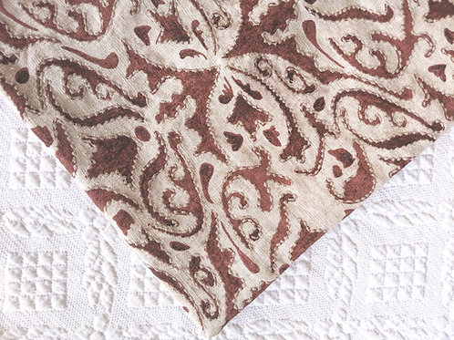 """Pottery Barn Linen Rust Cream Embroidered Pillow Cover 22"""""""