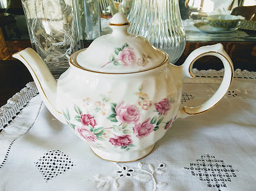 Windsor Teapot Pink Floral Six Cup