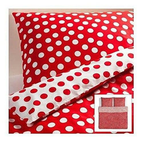 Ikea Queen/Full Duvet Shams Red White Polka Dots