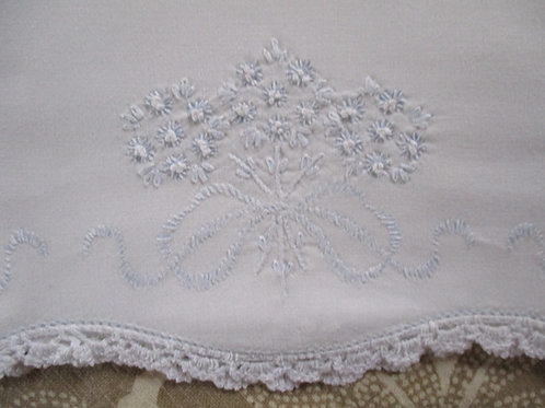Lovely Cotton Pillowcase ~White~Floral Embroidery