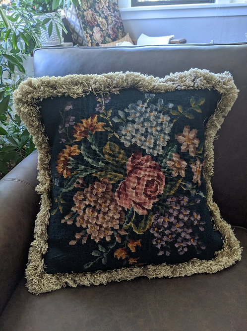 "Needlepoint Pillow Hand Stitched Floral on Blue Fringed 18"" Down Insert"
