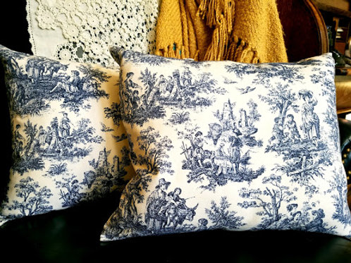 Rustic Life Toile Pillow Pair White Blue Country Scene Custom