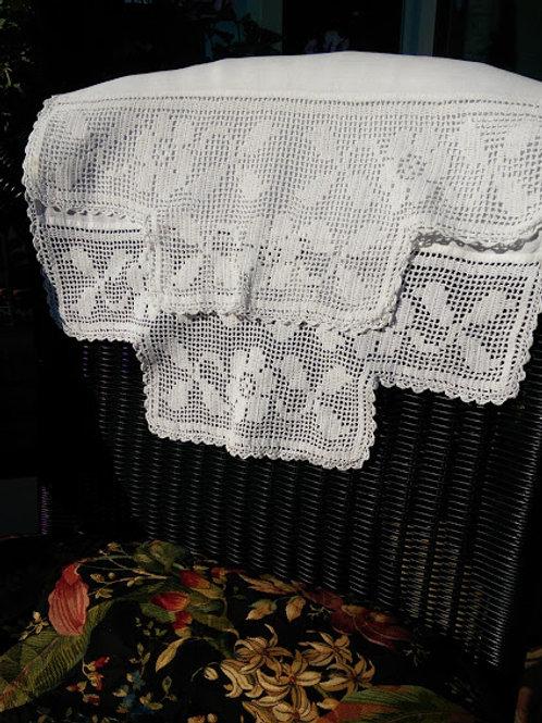 """Linen Runner~Crochet Trim~19"""" x 50"""""""