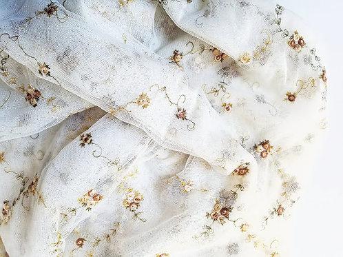 Spring Blossom Sheer Embroidered Panel Cream/Ecru/Beige